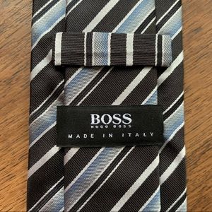 Hugo Boss Skinny Striped Black, Gray & Blue Tie